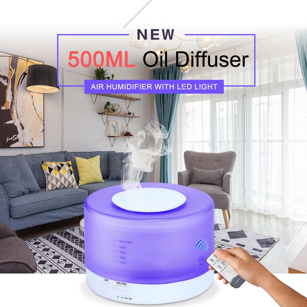 Máy khuếch tán tinh dầu trụ tròn 500ml đa chức năng